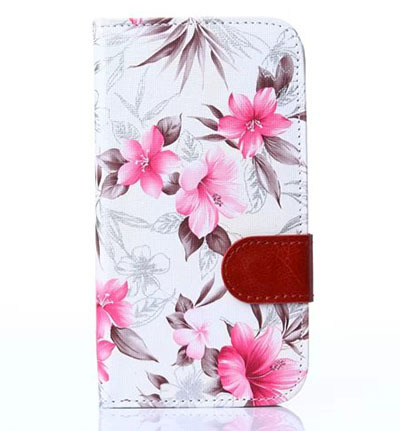 Case for SAMSUNG i 9060 9082 cute floral pattern pu leather cell phone cases flip wallet protective cover Retail And Wholesale(China (Mainland))