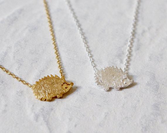 Gold Silver Hedgehog Necklace