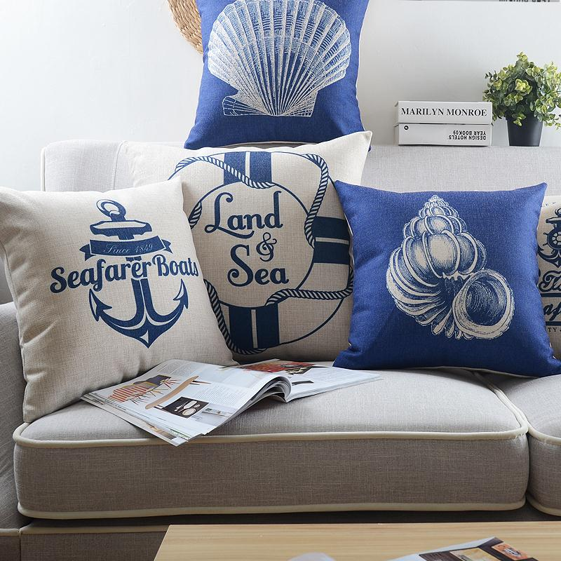 Free Shipping Blue sea Mediterranean Cotton Linen Fabric Decorative Cushion 45cm Hot Sale New Home Fashion Christmas Gift Pillow