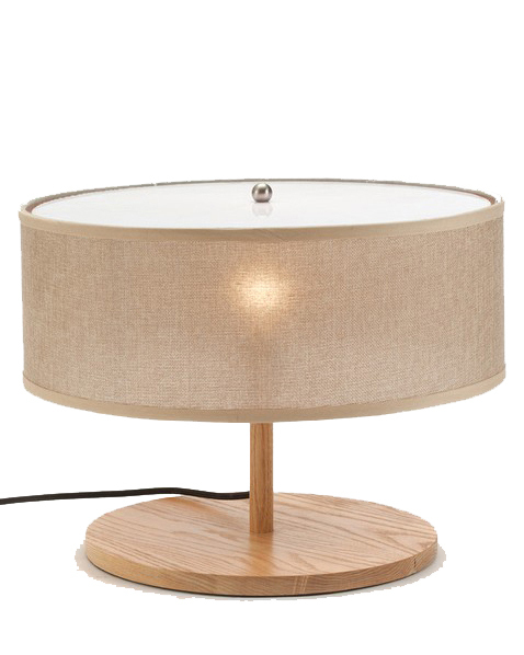 Ems free ship table lamps wooden handmade drum shape beige for Drum shaped lamp shades