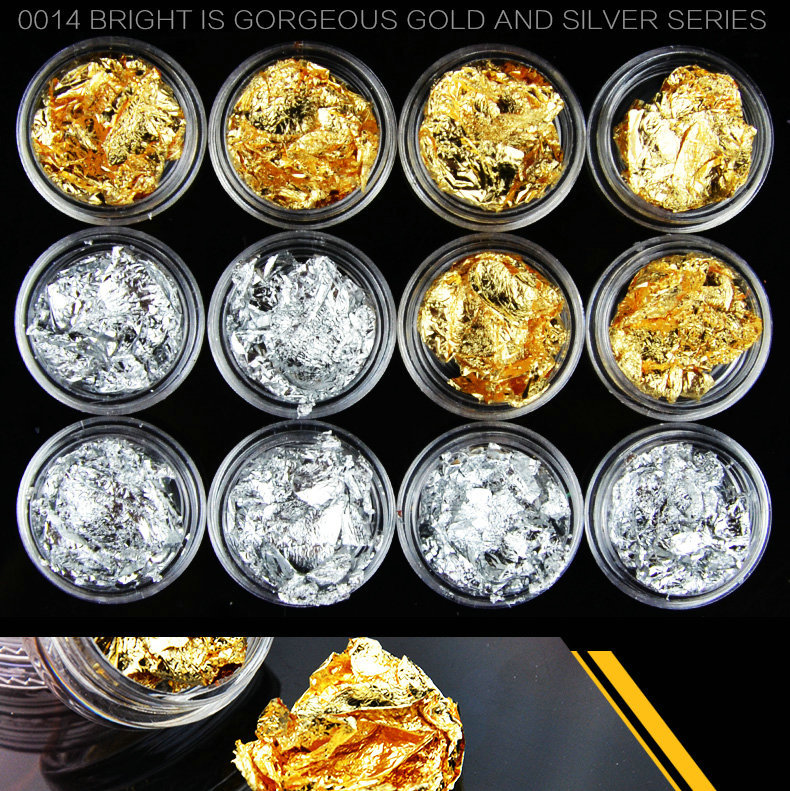 new arrival 12 PCS Nail Art Gold Silver Paillette Flake Chip Nail Art Foil stickers DIY Acrylic UV Gel Pager Tips Decorations(China (Mainland))