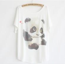 2015 Summer a la moda loose women de camiseta de algodón de impresión animales bonito panda buena calidad tapas murciélago camiseta 47888