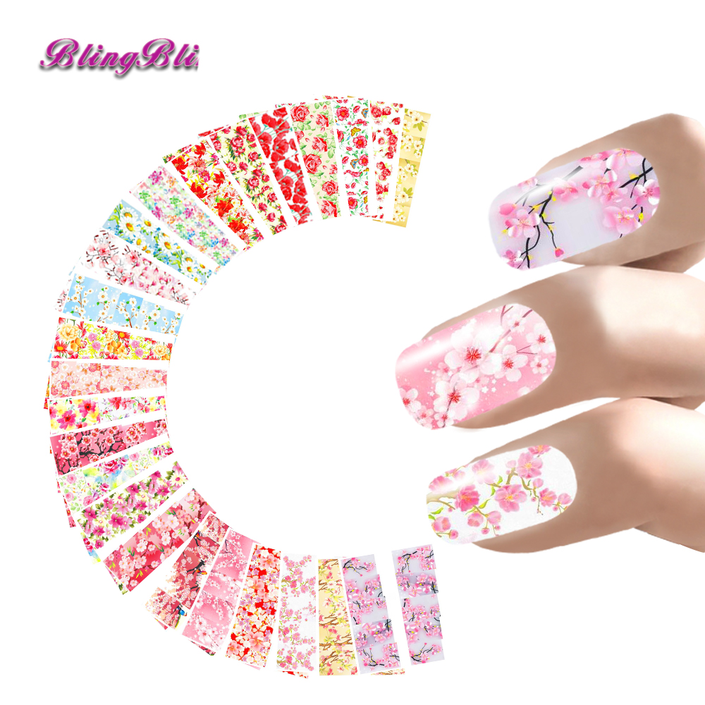 24 Sheets Nail Sticker Flower Water Decals Transfer Foil Rose Peony Sakura Floral Design Nail Wrap For Valentine's Day Nails Art(China (Mainland))