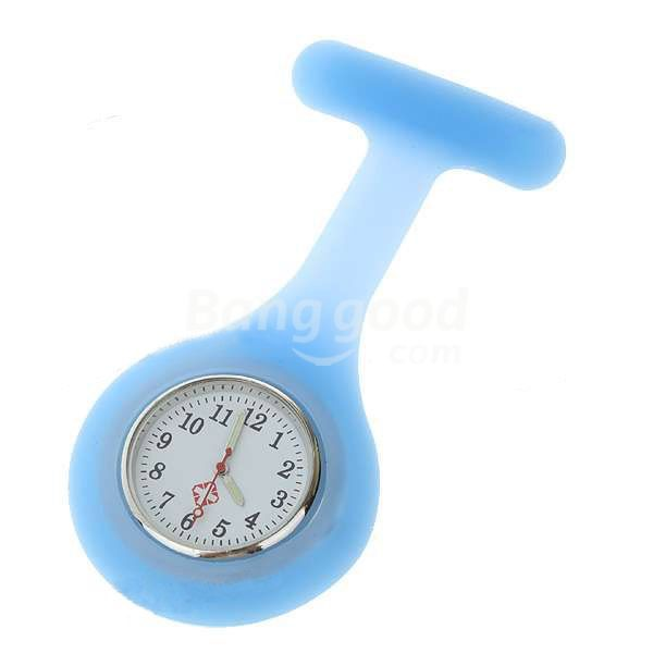 TradeMart Blue Silicone Brooch Quartz Lapel Nurse Watch HOT(China (Mainland))