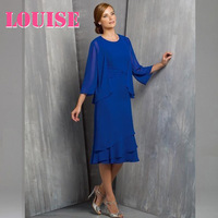 Most Popular 2016 Mother of The Bride Dresses Royal Blue With Jacket Groom Suit Chiffon Fall Tea-Length Plus Size Cheap