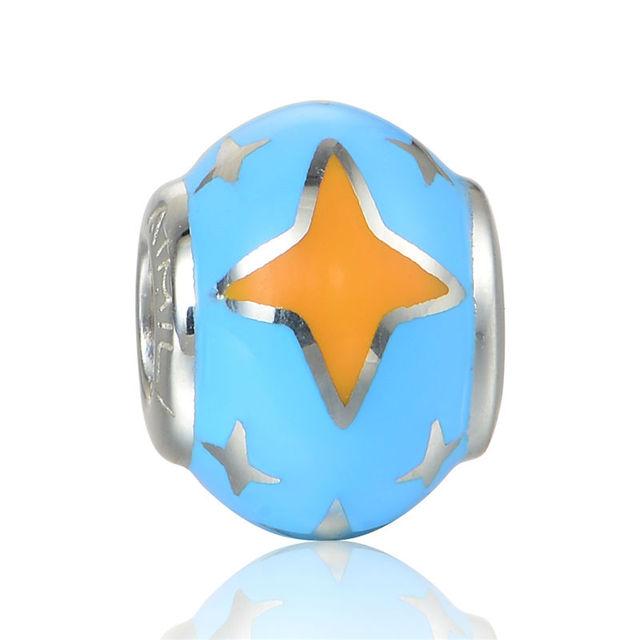 925 - серебристо-ювелирные бусины звезды на синем круглый бусины Fit Chamilia пандора браслеты серебро 925 мода DIY