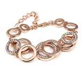 New luxury Rose gold plated Rhinestone Bojoux Silver connection Round Bracelet for women Valentine female fashion