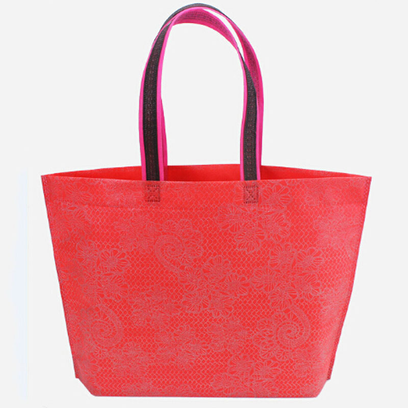 2015 New Shopping Bags Fashion Tote Floral Print Special Purpose Lace Bag Multi-function Black Red Rose 10pcs/lot can customize(China (Mainland))