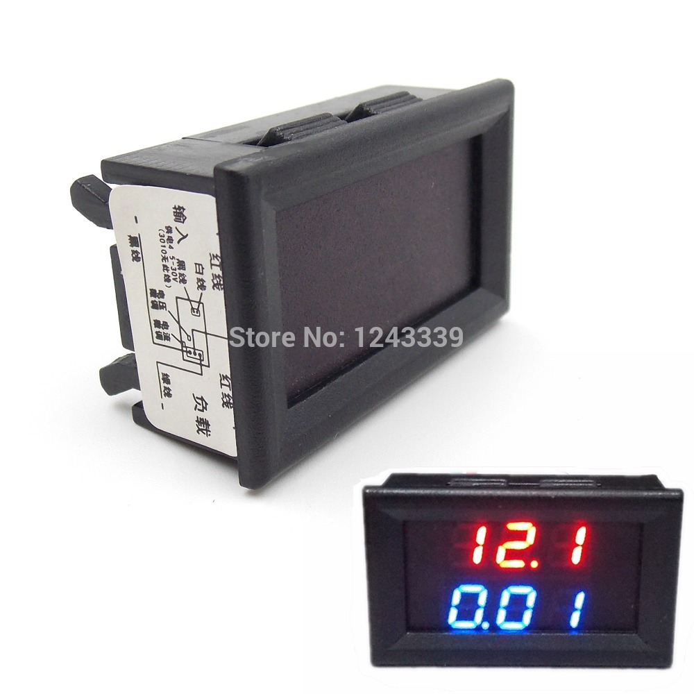 DC 0-100V/10A LED Dual Display Ammeter Voltmeter Volt Amp Meter for Cars Motorcycles Yacht Mechanical Equipment Etc(China (Mainland))