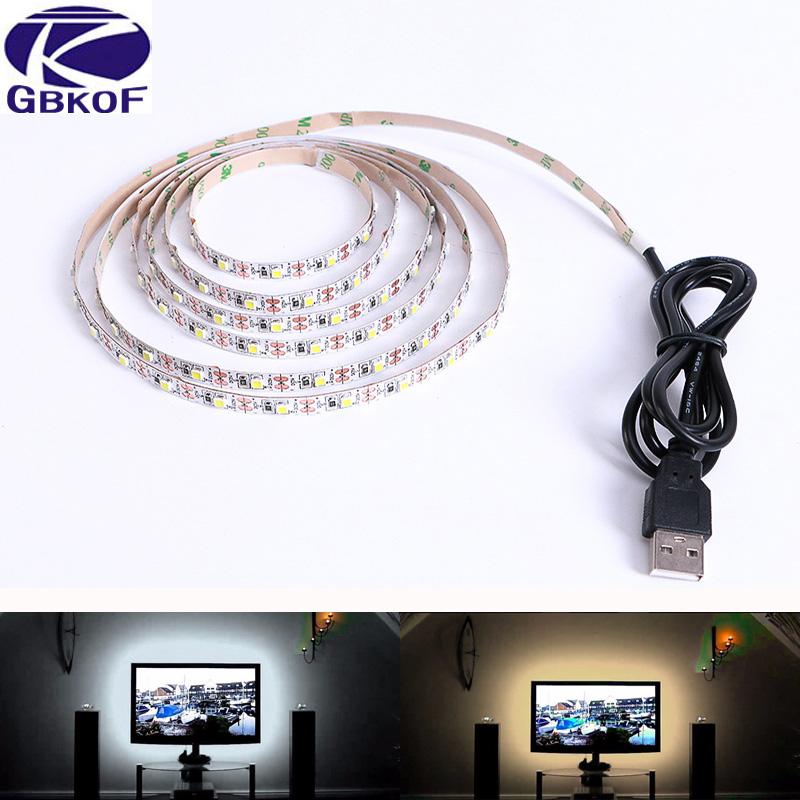 LED Strip USB SMD3528 Lights 50CM 1M 2M LED tape 5V USB Strip Light TV Background Lighting White/WArm white color Holiday lights