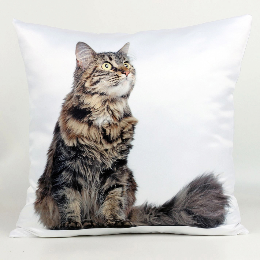 45 cm 45 cm Decorative Cushion Covers 4 Styles Long haired Cats Animal 3d Print Sofa