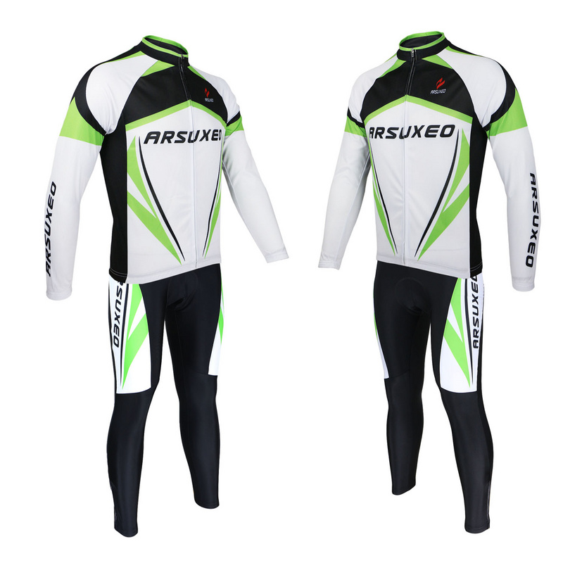 ARSUXEO Quick Dry Wear Clothing Sets Men's Outdoor Sports Road Bike Bicycle Long Sleeves Cycling Jersey Top + 3D Gel Paded Pants