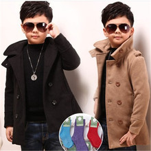 Male child outerwear wool coat winter clothing children's 2016 long design thick Fashion Jackets to 3-6 year-old boy(China (Mainland))
