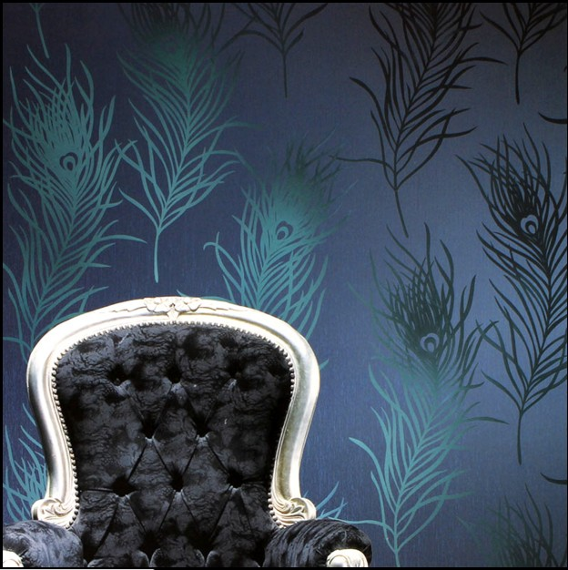 Фотография 10m*53cm home decor Wallpaper eco-friendly non-woven blue green color peacock feather wall stickers TV background wall paper