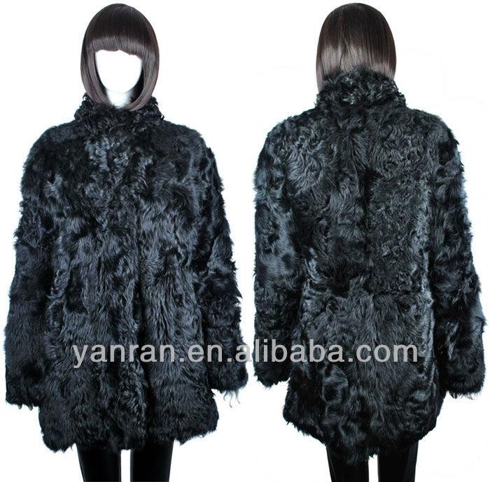 YR-113 Stand Collar Genuine Sheep Lamb Fur Coat~Factory Direct Sale~~Retail~OEM - Tongxiang Yanran Factory store