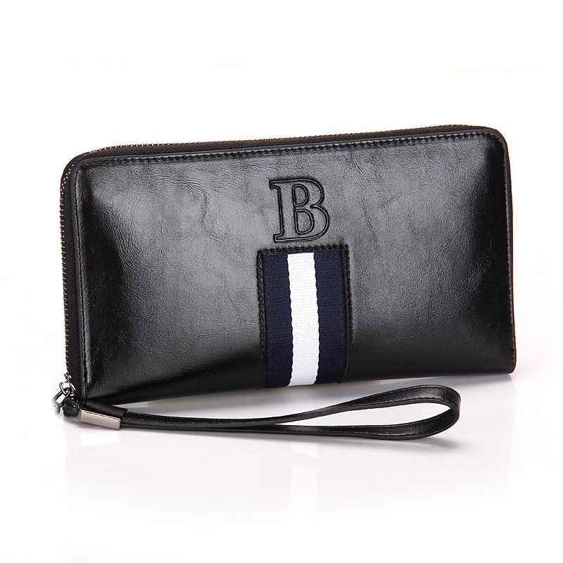 Mens' England Style Genuine Leather Wallet Male Large Zipper Clutch Purse Casual Cowhide Wallet with Strap for Men(China (Mainland))