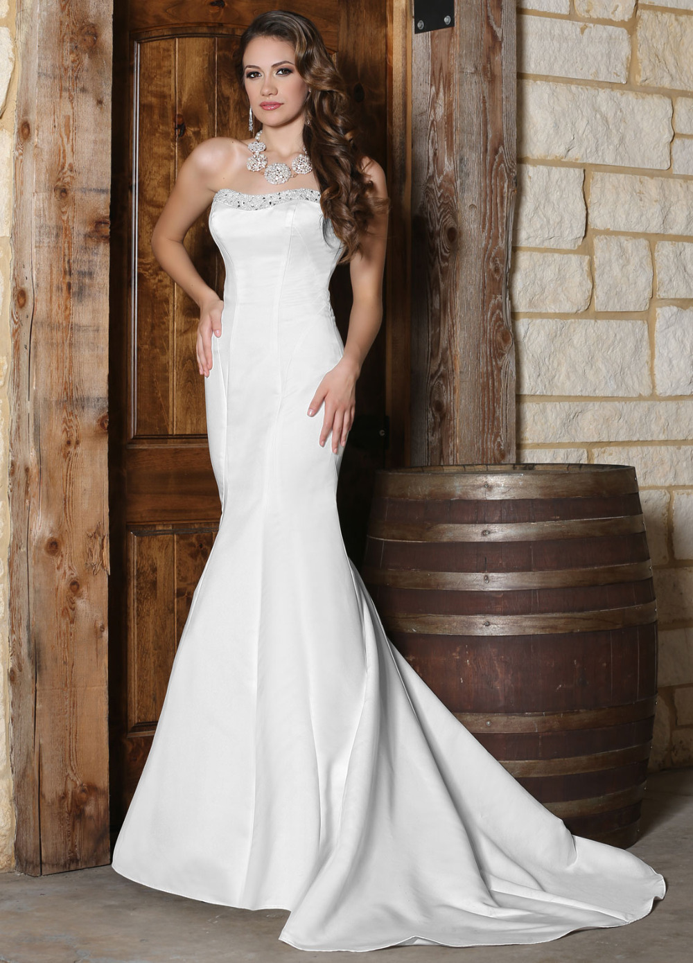 Fast Shipping Country Western Wedding Gowns 2015 Strapless