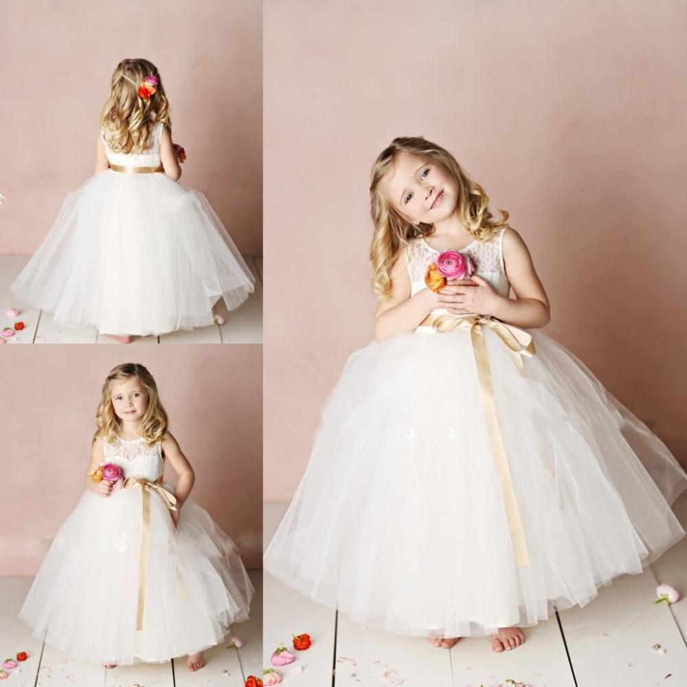 2015 white flower girl dresses for wedding lace crew ball for Dress for girl for wedding