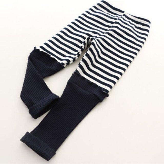 Детские дети девушки узкие леггинсы полосатые хлопковые брюки стрейч брюки прекрасный