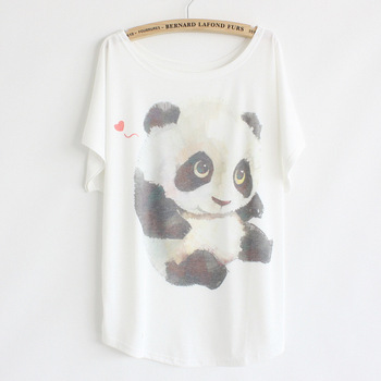 New 2015 Hot Retro Cool Punk T-shirt Women Top Fashion Tee The lovely panda print Batwing Sleeve T shirt women tops