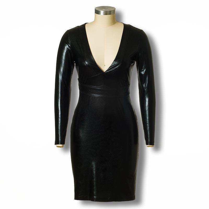 Woman Clothes Winter Sexy Club Dress 2015 Design Women Long Sleeve Black PU Leather Party Dresses Nightclub Bodycon Dress(China (Mainland))