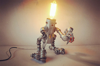 Vintage industry personality diy water pipe table lamp reminisced robot lamp for coffee bar shop home decor lighting fixture