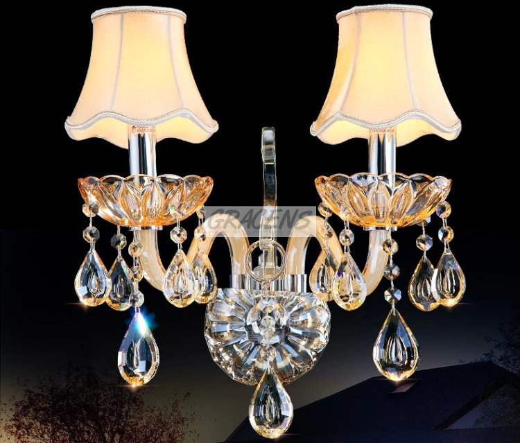 2014 2 Arms Champagne Modern Wall Lamp Crystal Sconce 100% K9 Drops (A WLZG125-2), D330mmXH340mm - Gracens ZSN Lighting Co., Ltd store