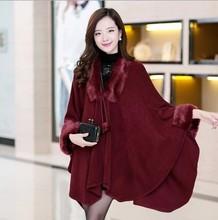 For 100/150 kg plus size women fall and winter cloak cape cardigan coat large fur collar knit sweater casaco feminino 5 color