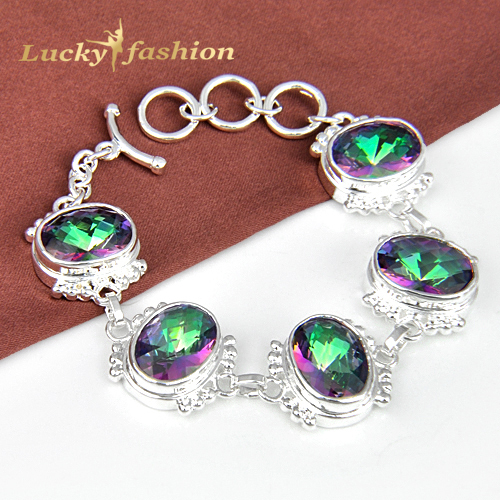 Rainbow Queen Lady Gift  Small Round Fire Mystic Topaz Silver  Bracelet  B0014