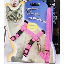 Cat Harness E Guinzaglio Vendita Calda 3 Colori di Nylon Prodotti per Animali Regolabile Trazione Animale Domestico Del Cablaggio Della Cinghia Gatto Gattino Halter collare(China)