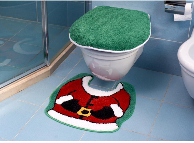 Microfiber acrylic U-shaped toilet bath mats and toilet lid suit 2PCS Free Shipping(China (Mainland))