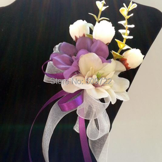 8pcs Fabric Wedding Decor Marriage Supplier Groom Artificial Orchid Rose Boutonniere Corsage Brooch Flower Purple FL5004(China (Mainland))