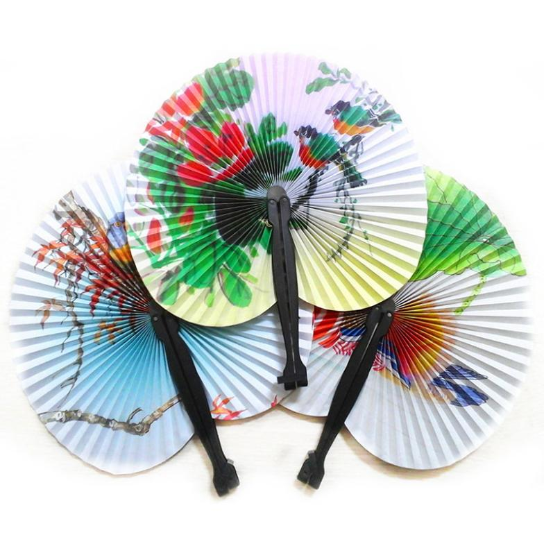 1pc Handmade Paper Hand Fan Folding Wedding Party Favor Decoration Colorful #ZH224(China (Mainland))