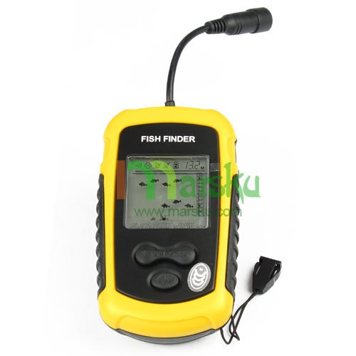 Portable sonar sensor lcd fish depth finder alarm 100m for Ice fish finder