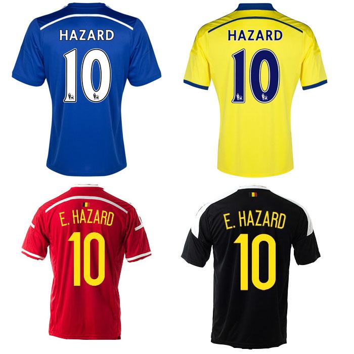 Eden gevaar jersey # 10 14 15 chelsea thuis weg en belgië 15 16 nationale team voetbal jersey camiseta futbol(China (Mainland))