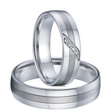 1 Pair 2016 new classic private design white gold style western titanium couple engagement wedding rings sets for men and women(China (Mainland))