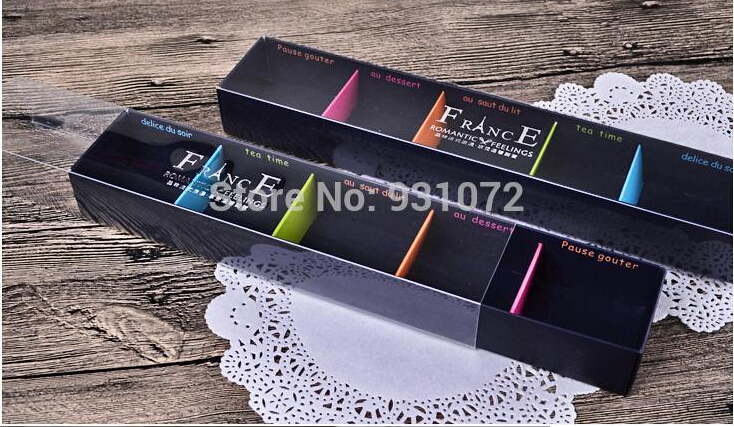 Free Shipping 500pcs/lot PVC Macaron packaging box West dessert packaging Chocolate box Paper boxes 5 grids 27.9cmX5.2cmX3.3cm(China (Mainland))
