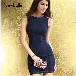 Women denim overall dress one piece denim dress novelty dress Stylish Skintight Denim brief mini sweet Dress Light Blue NB-031(China (Mainland))