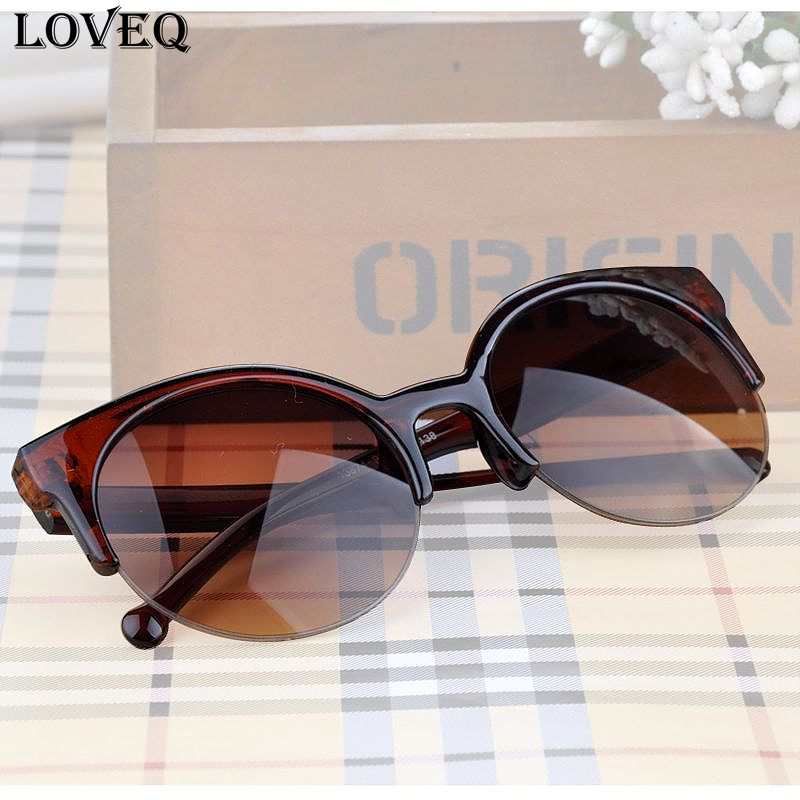 Fashion Vintage Sunglasses Retro Cat Eye Semi-Rim Round Sunglasses for Men Women Sun Glasses Eyewear Eyeglasses Y55*MPJ093#M5