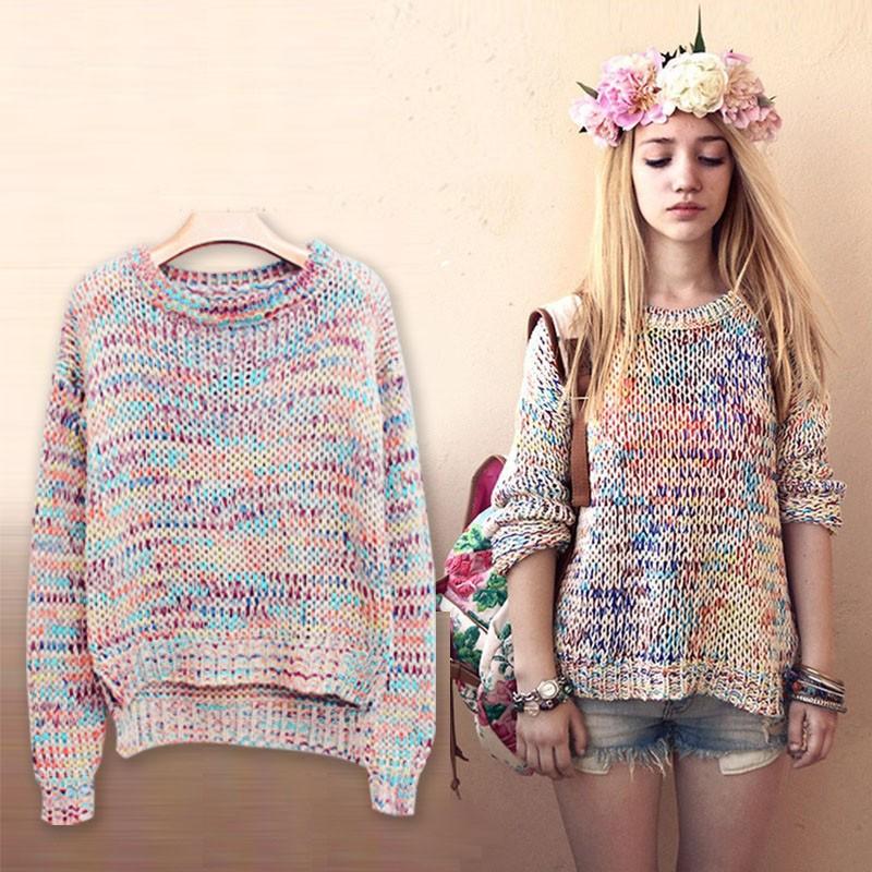 к 2015 году новых вершин кофточка женщин свитер пуловеры многоцветная Радуга длинный рукав o шея зимние повседневные трикотажные свитера yf9602