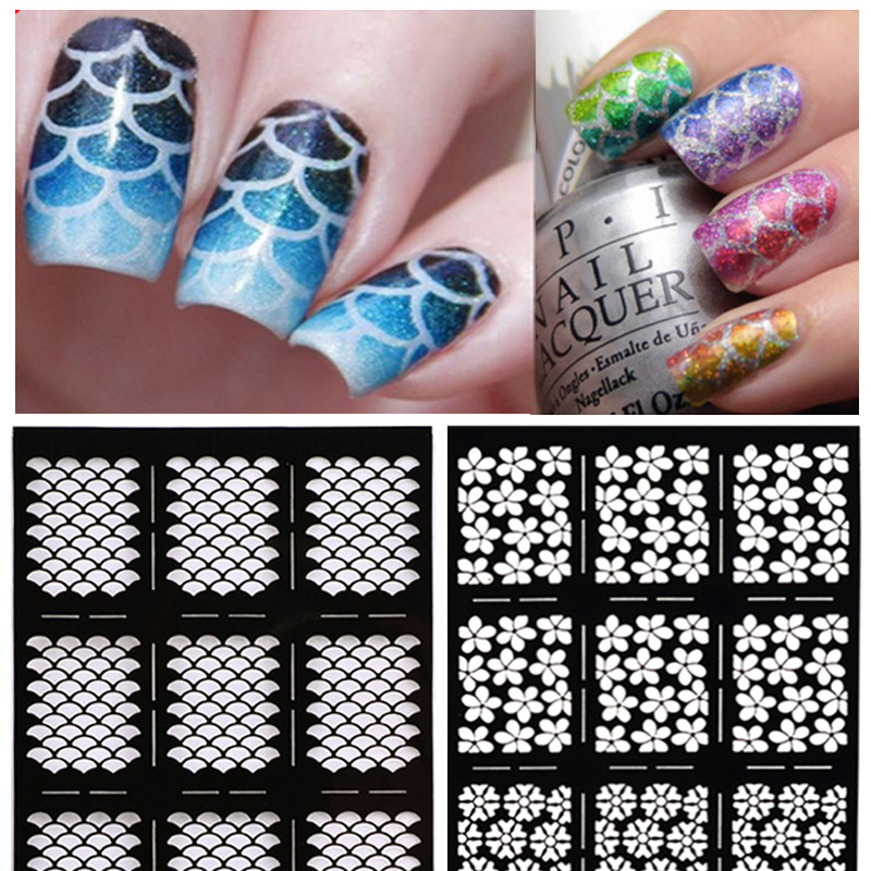 1Pcs Stamping Nail Art Decal Tips Nail Sticker Accessories Hollow Stickers Guide For Nail Art Decorations Manicure Beauty(China (Mainland))