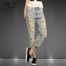 Top Quality New Denim Loose Ripped Pencil Nine Jeans Women Plus Size BF Baggy Jeans With Big Hole 26-40 XL XXL 3XL 4XL 5XL XXXL