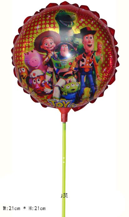 wholesale 60pcs/lot 8.5inch Toy story foil balloon with pole happy birthday cartoon balloon helium balloon free shipping(China (Mainland))