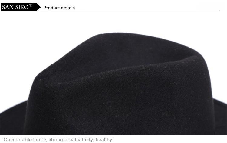 Новый 2016 осень зима мода широкими полями крышки джаза свободного покроя марка хлопок сплошной шляпу для женщин винтаж черный панама вс-топ шляпа