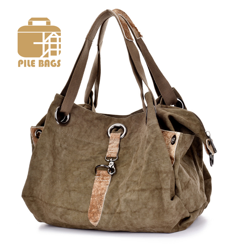 High Quality Canvas Genuine Leather Women Handbag Casual Large Capacity Hobos Bag Vintage Woman Tote Shoulder Messenger Bags(China (Mainland))