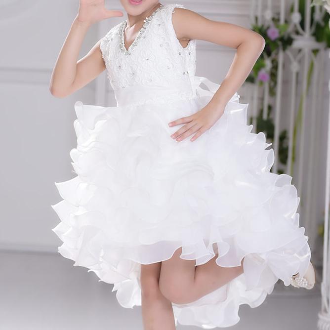 Short front long back style children girls dress flower girl princess dresses kids formal wedding birthday dress SKF154007<br><br>Aliexpress