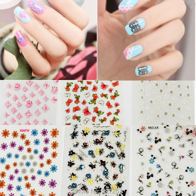 Nail Art Stickers 3D Mix Color Floral Design Decals Manicure Beautiful Fashion Accessories Decoration Fashion New ( 30 Sheet )(China (Mainland))