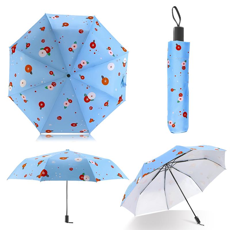 Fashion Illustration Cute Fruit Cat Rain Sun Umbrella 3 Folding 8 ...