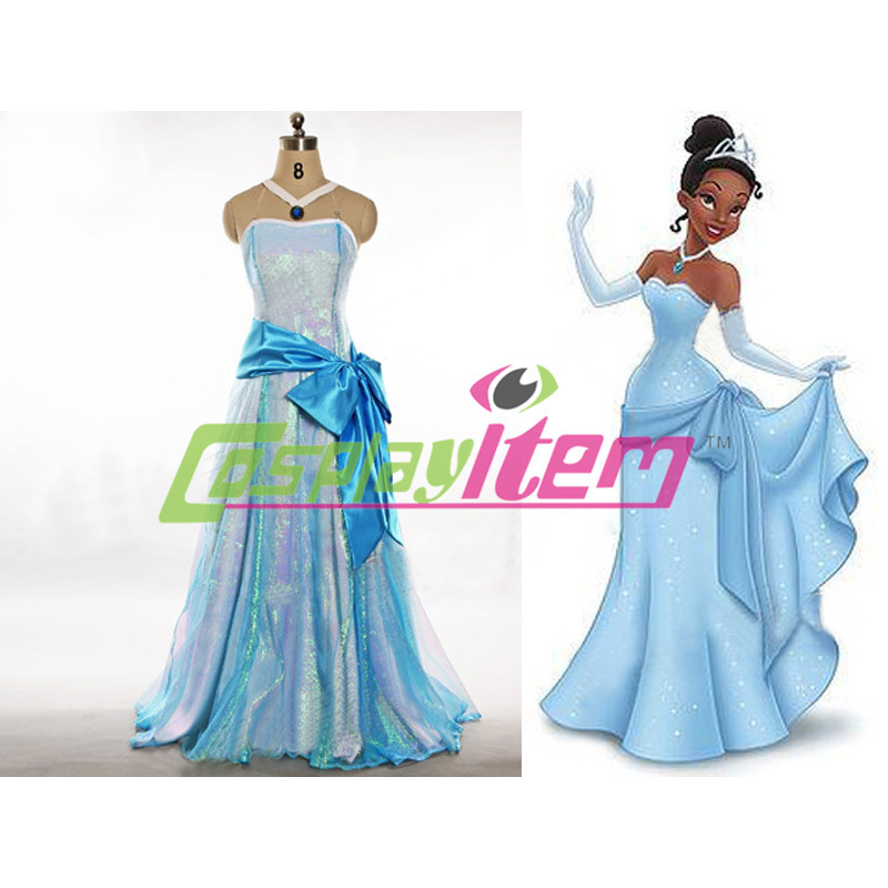Customized movie Princess Frog Tiana Dress Costume Adult Women Halloween Party - Cosplayitem COS store