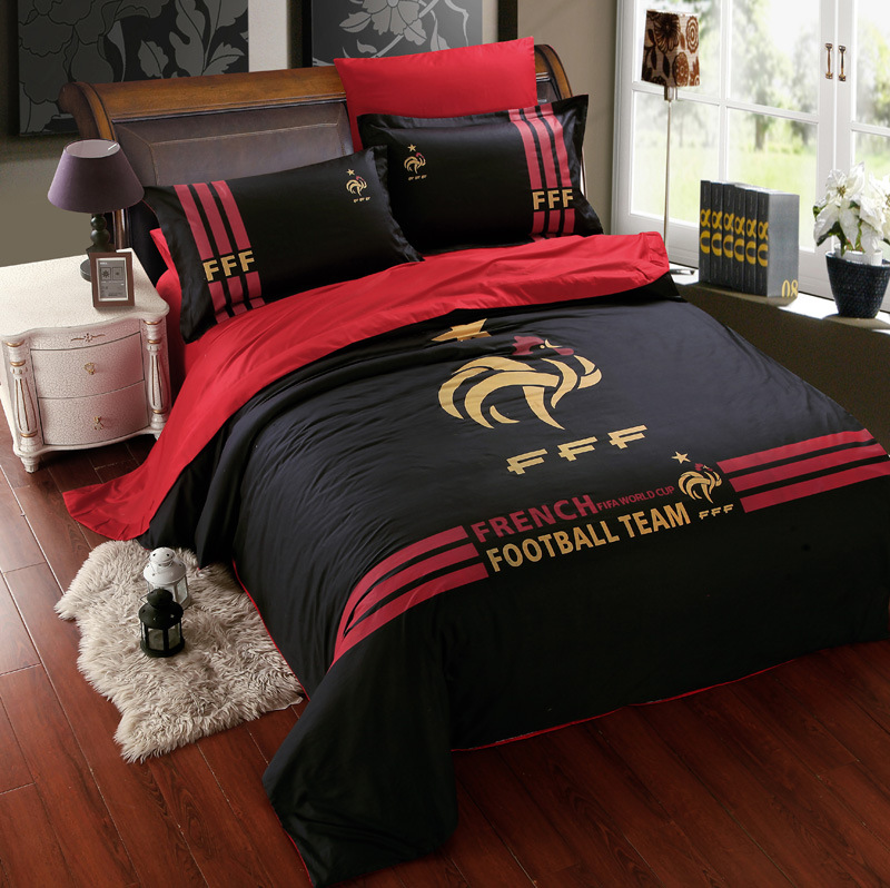 noir coton football quipe literie ensembles pour gar ons hommes housse de couette linge de lit. Black Bedroom Furniture Sets. Home Design Ideas